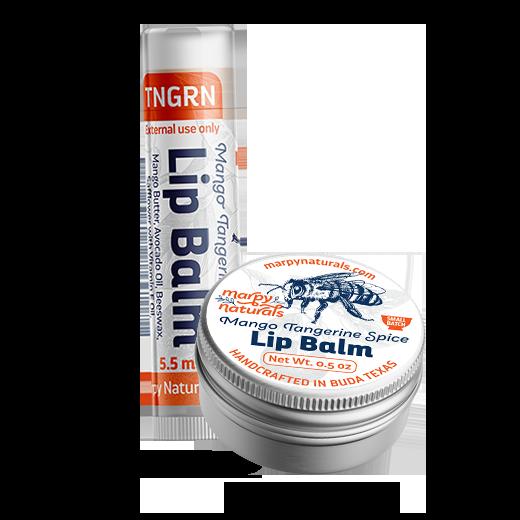 Mango Tangerine Spice lip balm tube and tin image